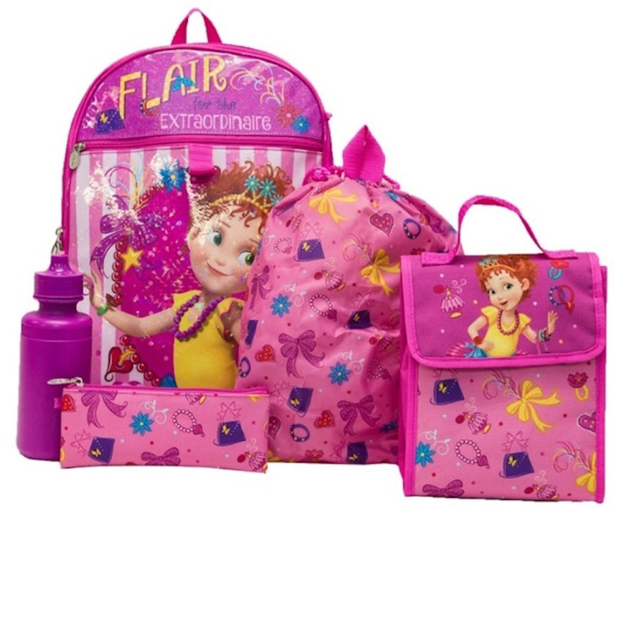 Disney Fancy Nancy 5PC Girls Backpack, Cinch Sack, Lunch Bag, Zip Pouch & Water Bottle Set