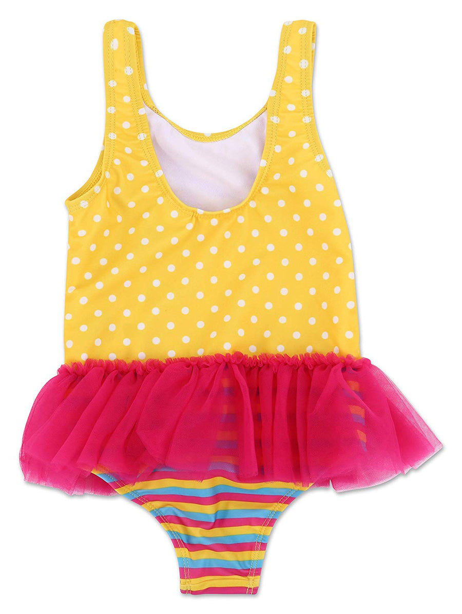 Disney Fancy Nancy Toddler Girls' One Piece TuTu Swimsuit - Pink/Yellow