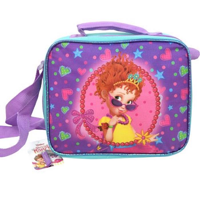 Disney Deluxe Fancy Nancy Girls Reusable Lunch Bag w/ Shoulder Strap - Purple