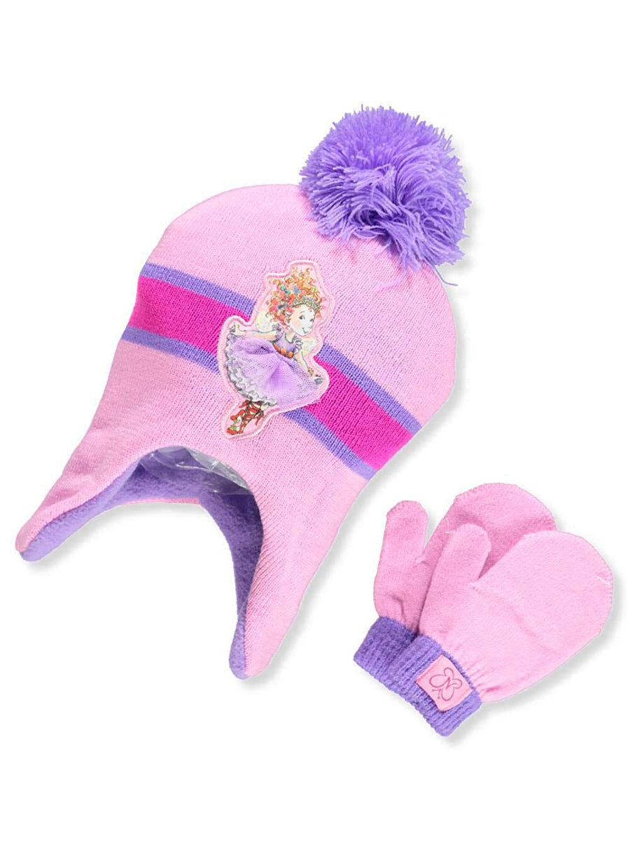 Disney Fancy Nancy Girls' Earflap Beanie Knit Hat and Mittens Set, Pink