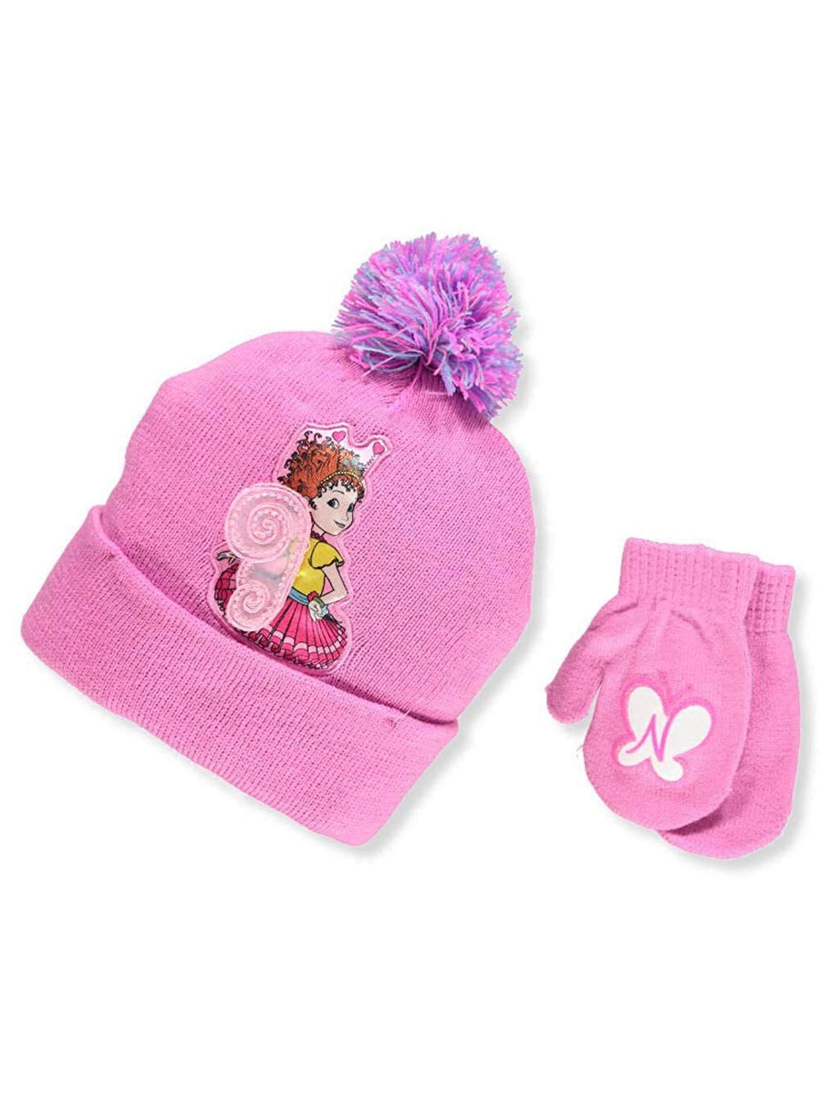 Disney Fancy Nancy Girls' Beanie Knit Hat and Mittens Set, Pink