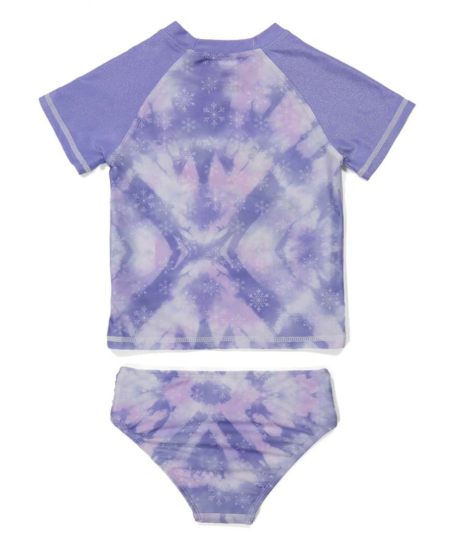 Frozen 2 Toddler Girls' Rash Guard Bikini Bathing Suit Set 2pc, 2T-4T, Purple Foil