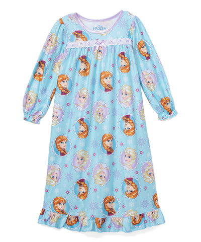 Disney Frozen Toddler Girls' Long Sleeve Pajama Nightgown - Anna and Elsa - Blue