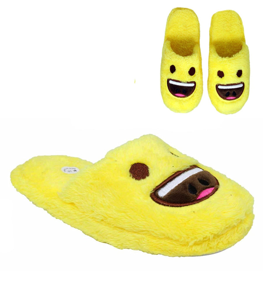 P&W Unisex Emoticon Plush Slippers Assorted Appliques, Yellow Sizes: S, M, L & XL