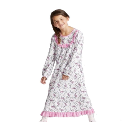 Hello Kitty Girls' Flannel Granny Gown Nightgown, White, Sizes 4/5, 6/6X & 7/8