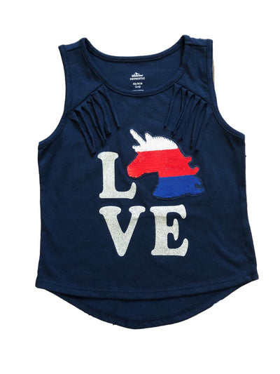 USA Girls' Fourth of July Patriotic Fringe Tank Top With Reversible Sequin Horse, Sizes XS-XL - Navy Blue