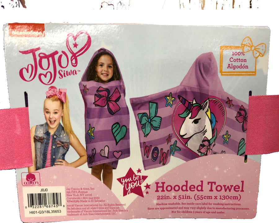 JoJo Siwa Unicorn Hooded Cotton Bath Towel, Purple