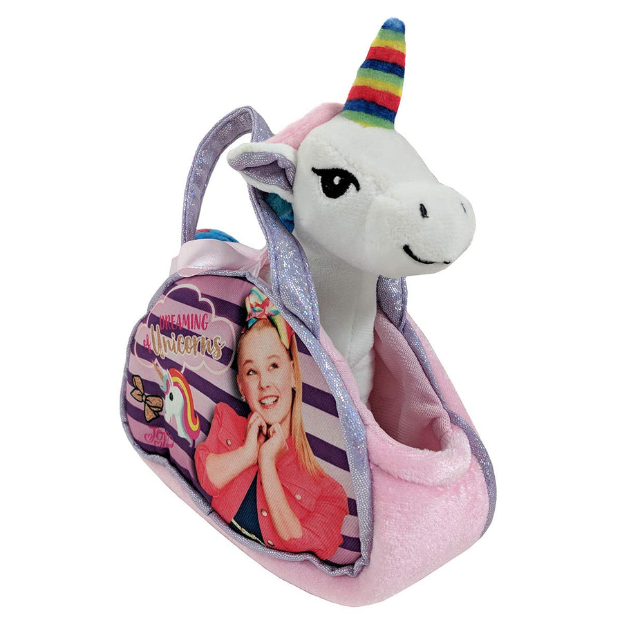 "Nickelodeon JoJo Siwa ""Dreaming Of Unicorns"" Purse With Removable Plush Unicorn & JoJo Rainbow Hair Bow - Multi Value Bundle"