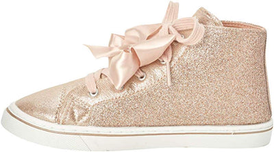 JoJo Siwa Girls' Hi-Top Glitter Sneakers - Rose Gold - Little/Big Girls