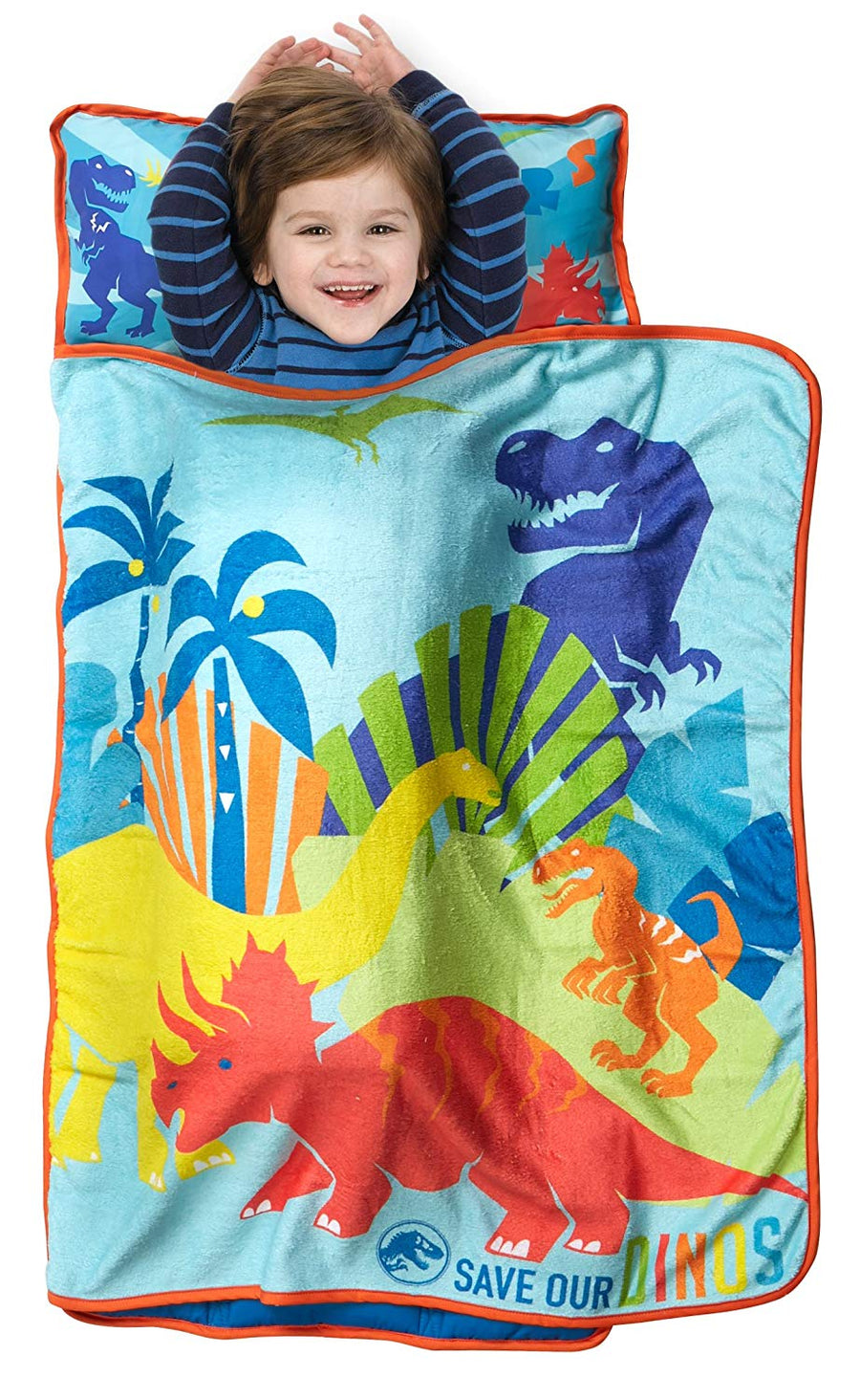Jurassic World Save Our Dinos Kids Nap Mat - Includes Pillow & Fleece Blanket, Multicolor