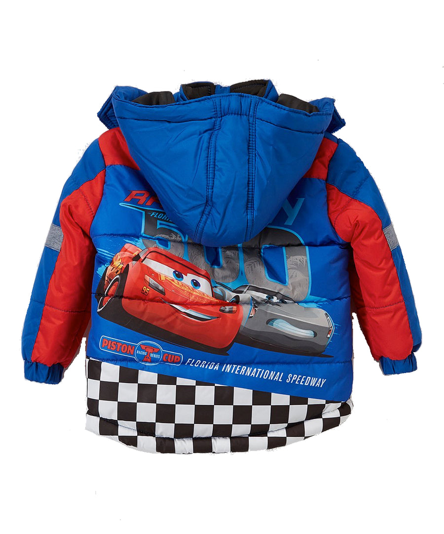 Cars Toddler Boys' Puffer Jacket Disney Hooded Winter Coat, 2T-5T, Blue Red