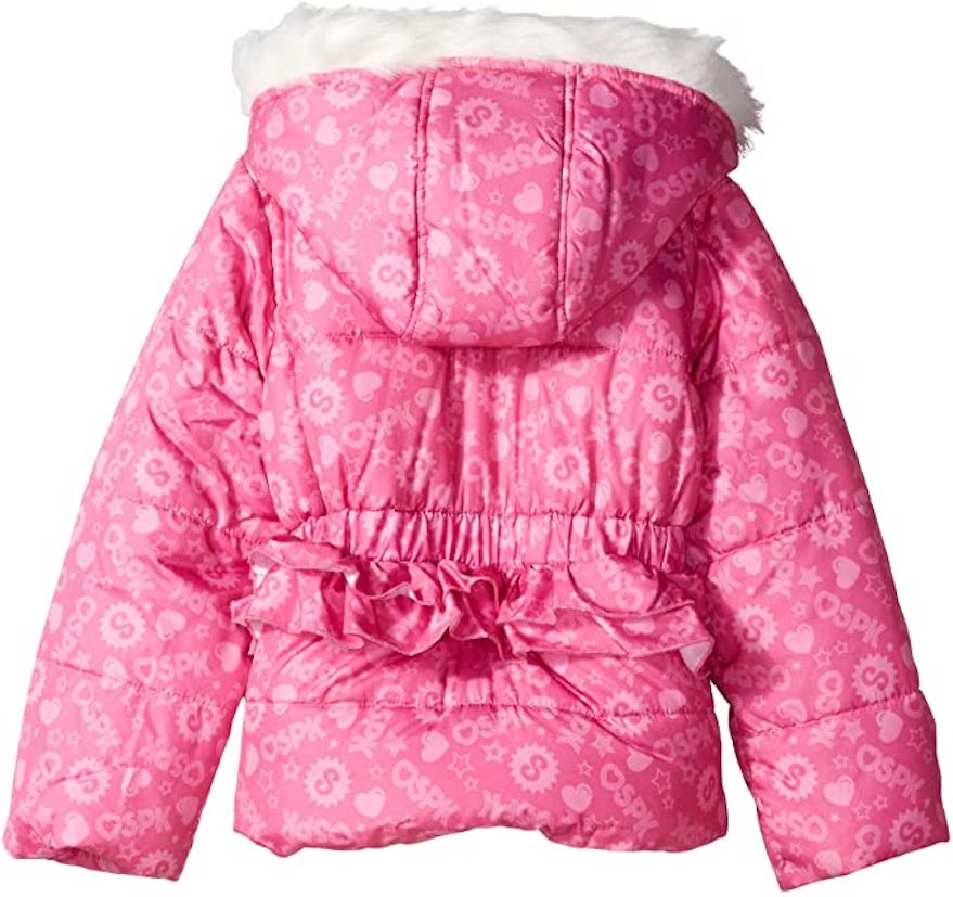 Shopkins Girls' Puffer Jacket Hooded Winter Coat For Kids, 4-6X, Hot Pink