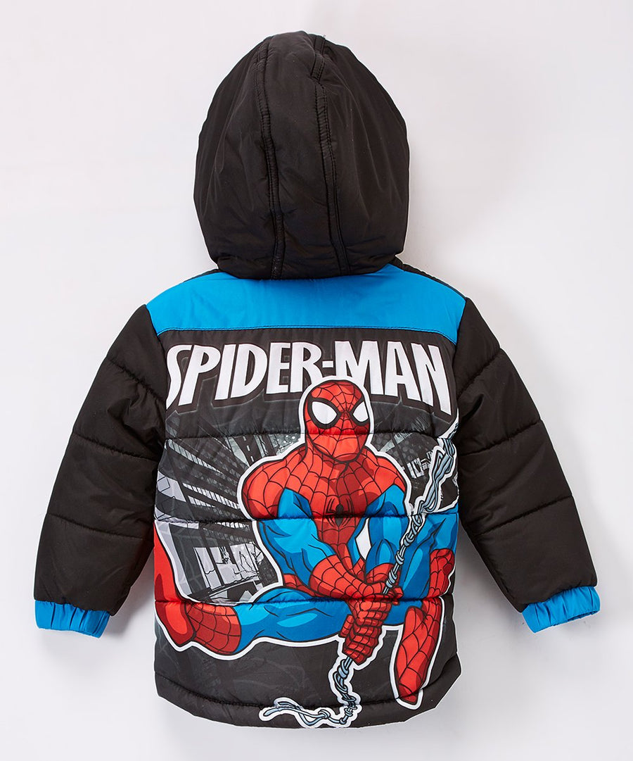 Spiderman Toddler Boys' Puffer Jacket Hooded Winter Coat, 2T-5T, Black