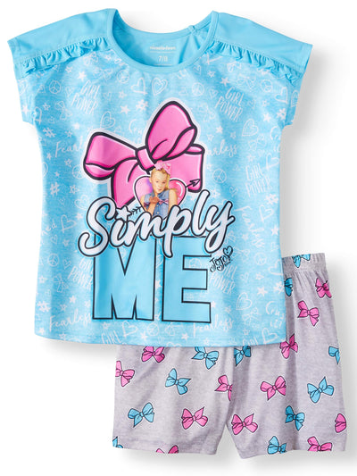 "Jojo Siwa Girls' ""Simply Me"" 2 Piece Pajama Sleepwear Set - Blue - Sizes 4/5, 6/6X, 7/8 and 10/12"