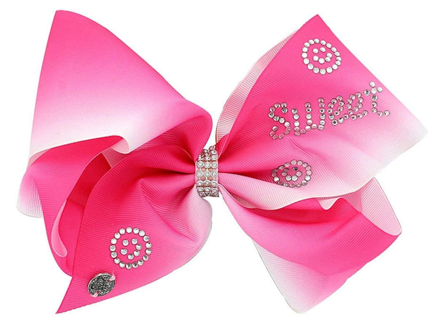 JoJo Siwa Large Pink and White Ombre Bow with Rhinestone Swirls and SWEET
