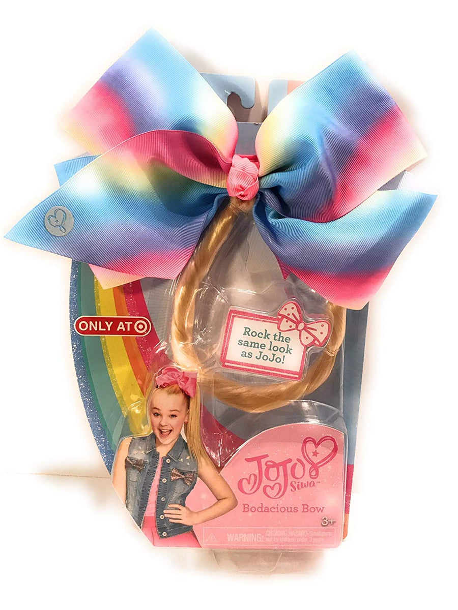 JoJo Siwa Pastel Rainbow Bodacious Bow With Bonus Blonde Hair Extension
