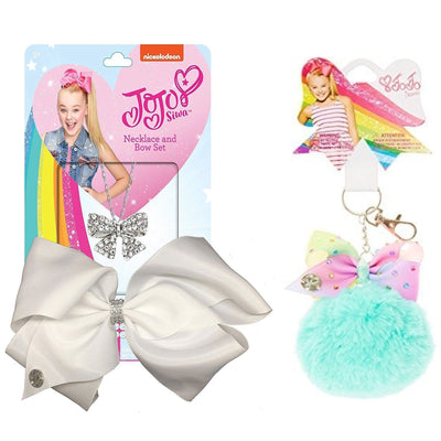 JoJo Siwa Rhinestone Hair Bow w/ Rhinestone Bow Necklace & Rainbow Pom Pom Keychain, Black or White