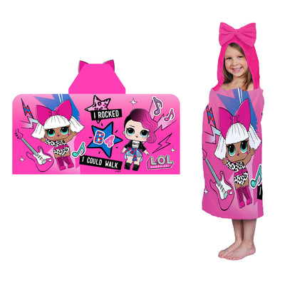 L.O.L. Surprise! Rocker and Diva Kids Hooded Cotton Bath Towel - Pink