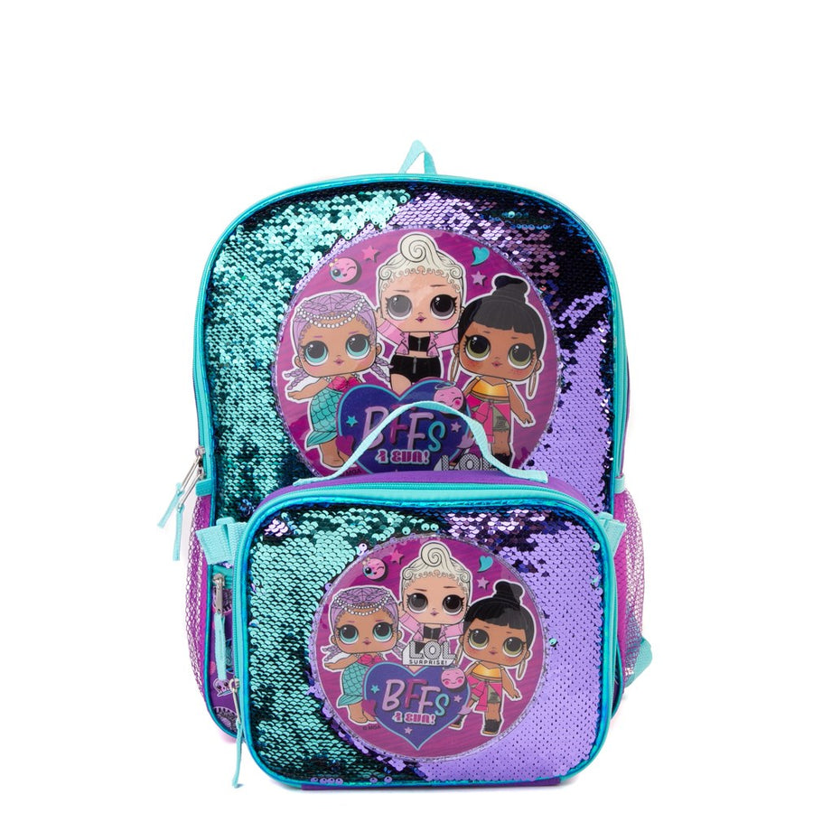 "L.O.L. Surprise! Girls' Two Toned Sequin Backpack with Lunch Box  ""BFFs For Eva""  Purple Aqua"
