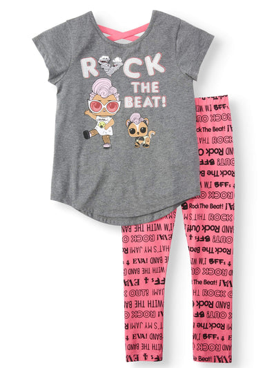 L.O.L. Surprise Girls' Flip Sequin Cross Back Shirt Top and Legging Set - Charcoal Gray