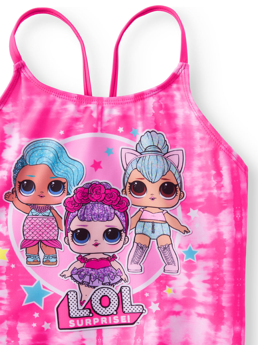 L.O.L. Surprise! Little Girl Big Girl Tankini Swimsuit Merbaby, Sugar Queen & Kitty Queen - Pink/Black