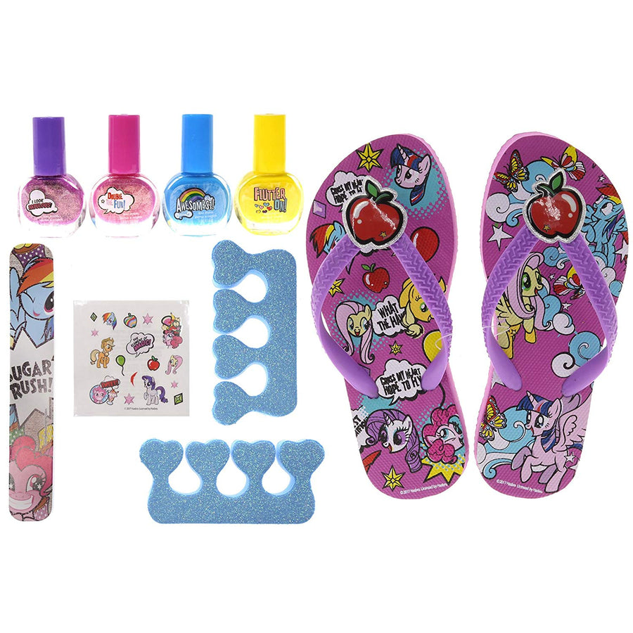 My Little Pony Spa Day Set, Includes 4 Nail Polish, Flip Flops (Girls 9-11 shoe size) and Toe Separator, 10 CT
