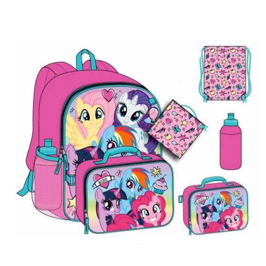 My Little Pony 5PC School Bag Backpack Set For Girls - 16 Inch - Pink