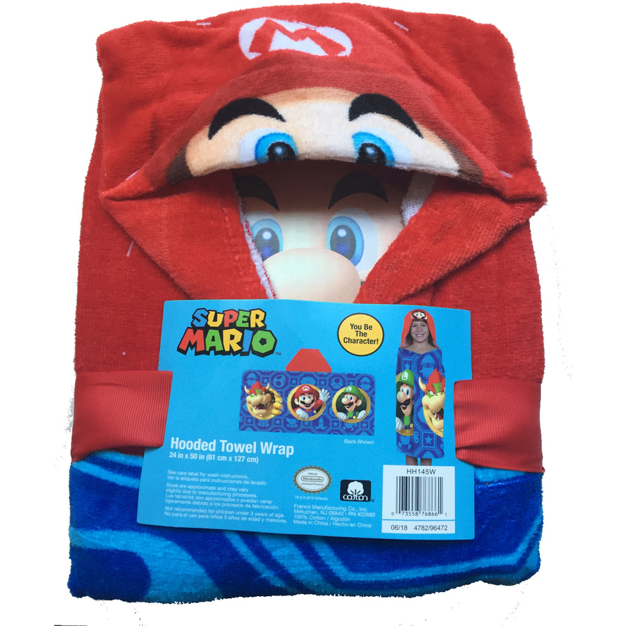Nintendo Super Mario Hooded Towel Wrap Boys' Blue