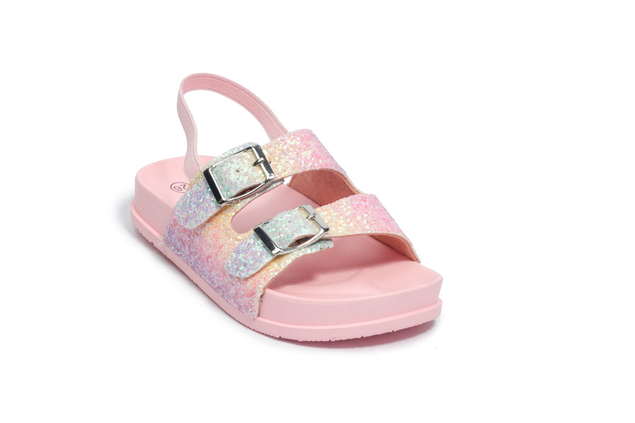 Girls' Pink Glitter Double Buckle Slip On Sandal - Sizes 7-12 (Toddler)