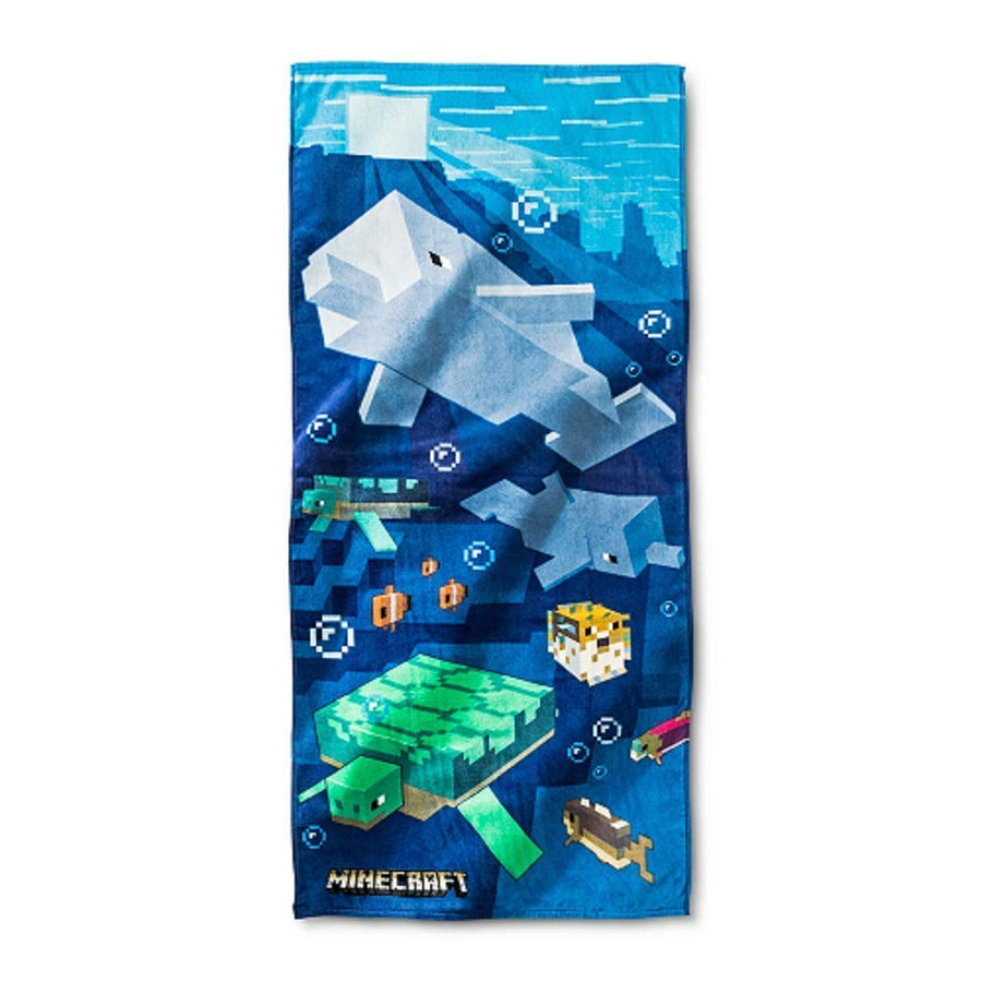 Minecraft Sea Creatures Dolphin, Fish and Turtle Cotton Towel For Summer Beach Pool Water Park - Blue