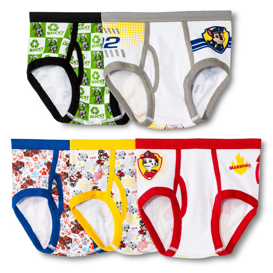 Nickelodeon Handcraft Boys' Paw Patrol Brief (Pack of 5), Assorted, Size 4 & 6