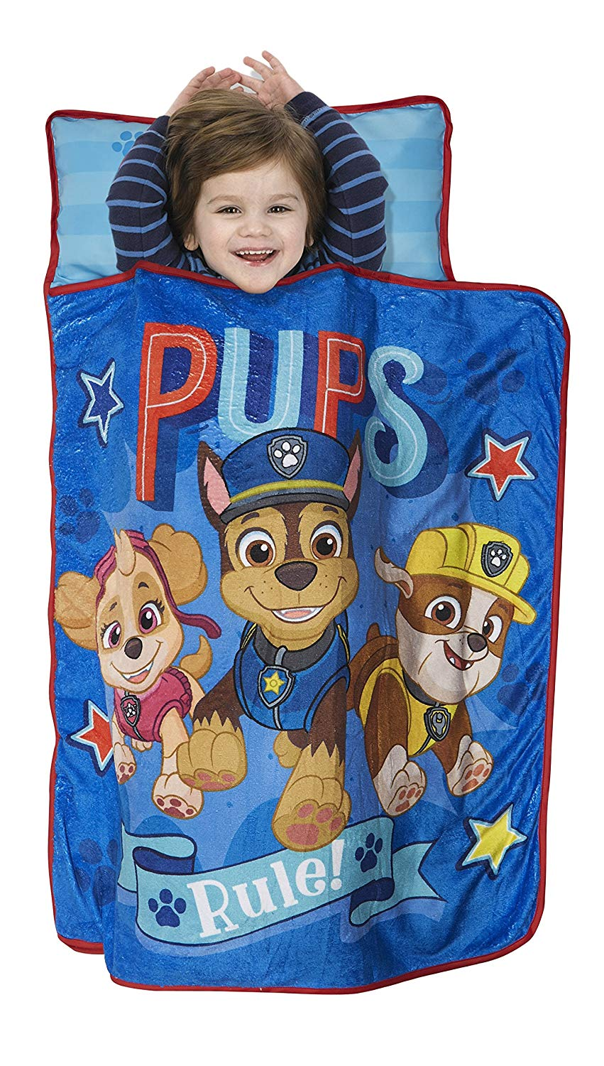 PAW Patrol Pups Rule Kids Nap Mat - Includes Pillow & Fleece Blanket, Blue