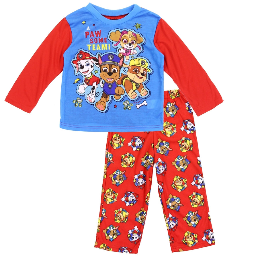 "PAW Patrol Toddler Boys' 2PC Pajama Set ""A PAWsome Team"" - Red/Blue"