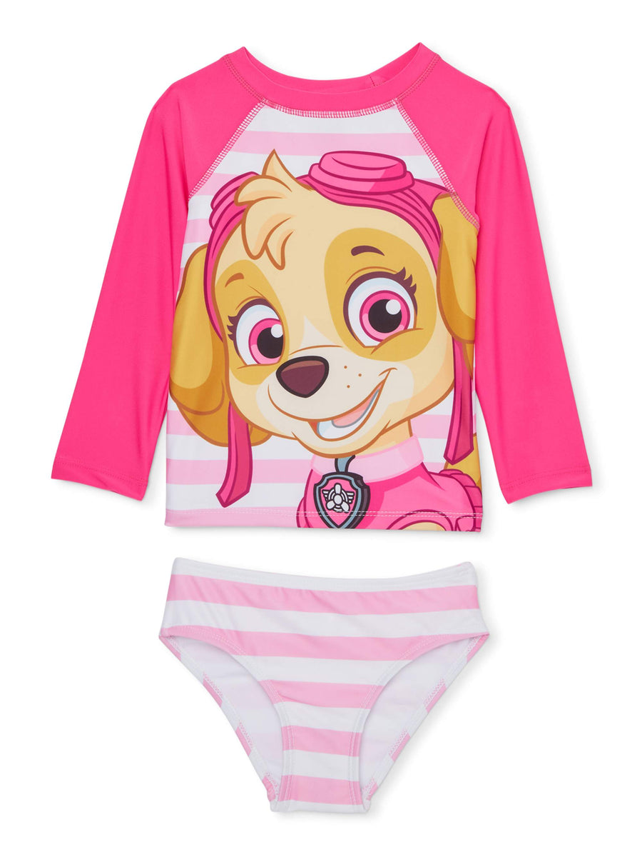 PAW Patrol Skye Rash Guard and Bikini Bottom Tankini Swimsuit - Toddler Girl - Pink - Sizes 2T, 3T and 4T