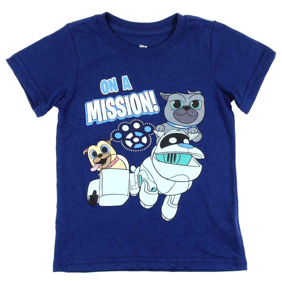 Disney Puppy Dog Pals 'On A Mission' Short Sleeve Toddler Boys' Sublimation Tee, Sizes 2T-4T - Navy Blue