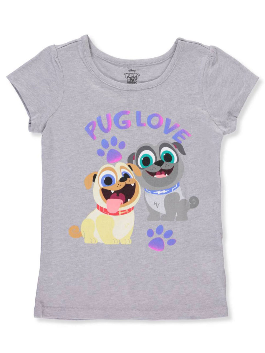 Puppy Dog Pals Girls' Pug Love T-Shirt, Grey, Sizes 4, 5/6, 6X