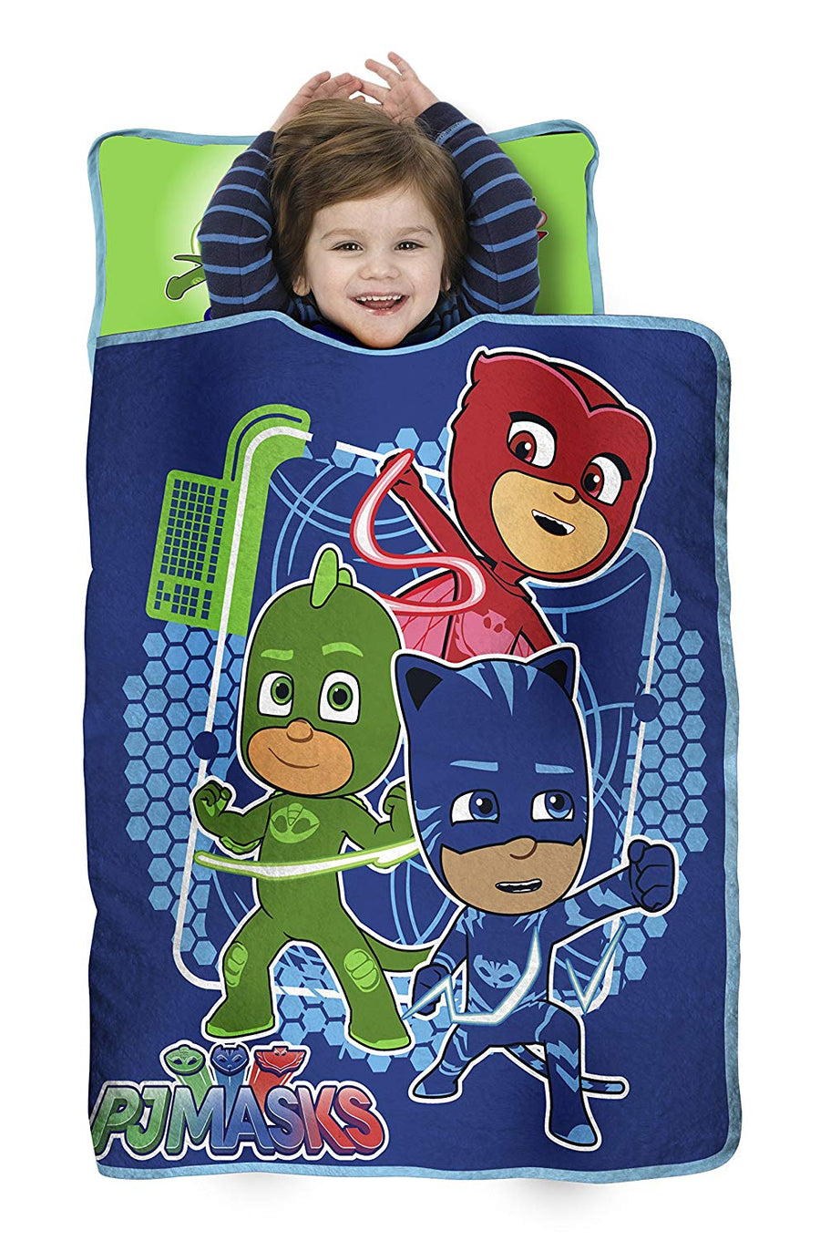 PJ Masks All Shout Hooray Kids Nap Mat - Includes Pillow & Fleece Blanket, Blue/Green