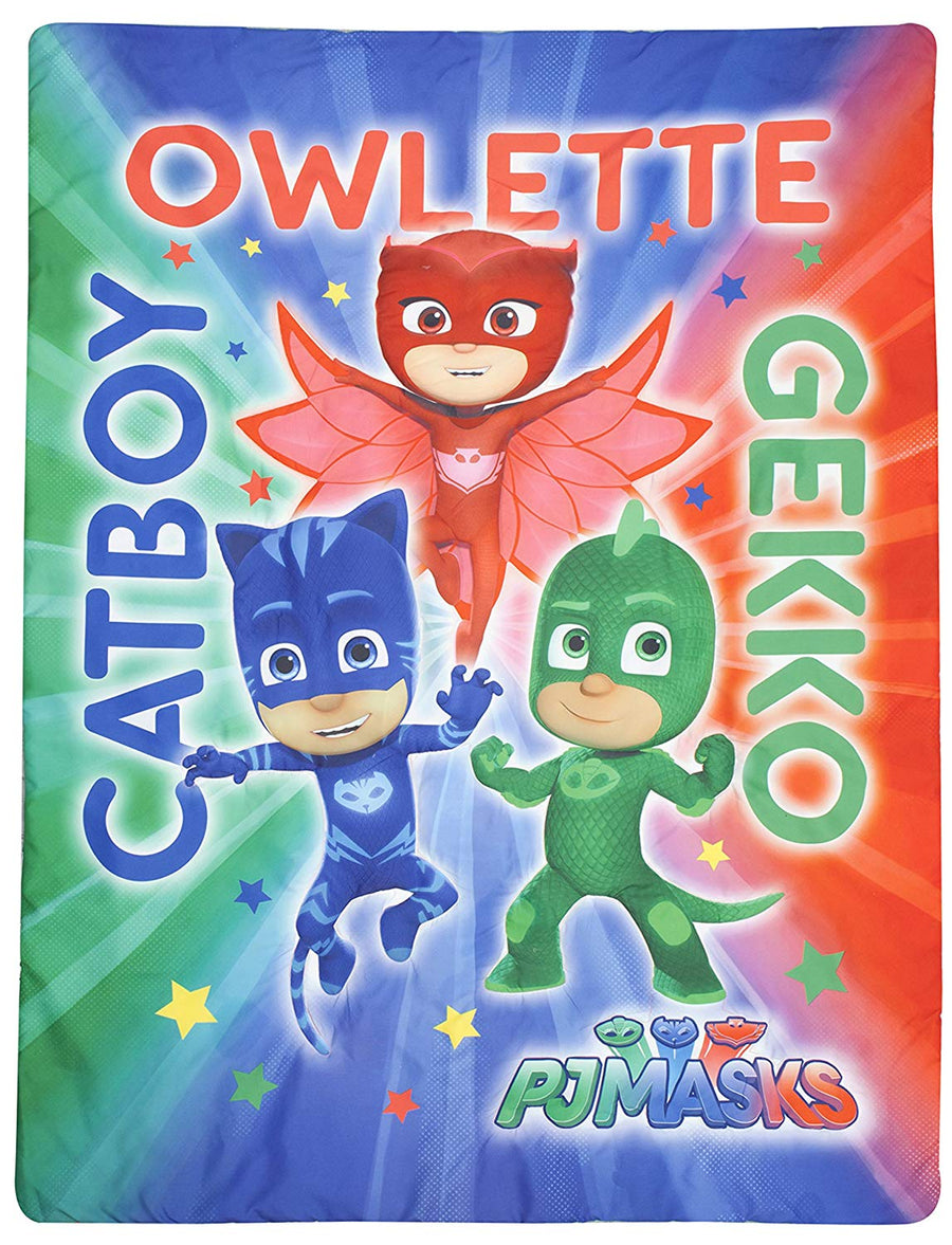 PJ Masks Catboy Owlete Gekko 4-Piece Toddler Bed Set, Blue