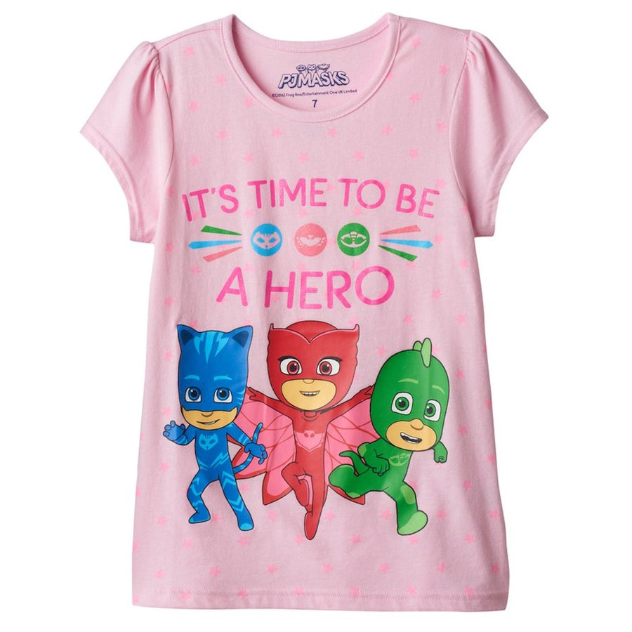 "PJ Masks Girls' Owlette, Catboy & Gekko T-Shirt ""Its Time To Be A Hero"" - Pink - Sizes 4, 5, 6 & 6X"