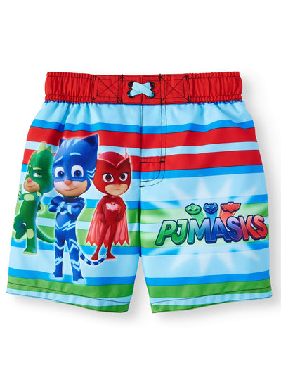 PJ Masks Toddler Boys' Board Short Swimwear Swim Trunks Catboy Owlette & Gekko - Red/Green