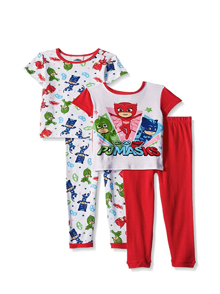PJ Masks Little Girls' 4-Piece Cotton Pajama Set, Red, Sizes 4 & 6