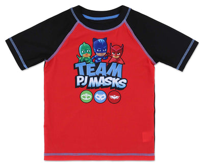 PJ Masks Toddler Boys' Rash Guard Swim Shirt Owlette, Catboy, and Gekko - Red