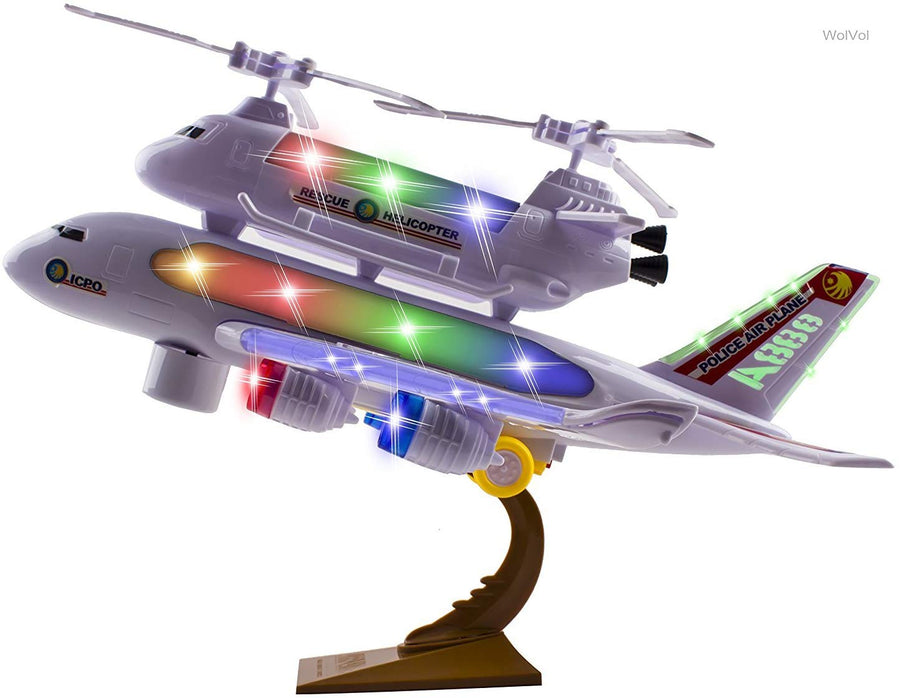 Justoyz Police Airplane Toy with Flashing Lights and Real Jet Sound Bump and Go Action - Ages 3 and up