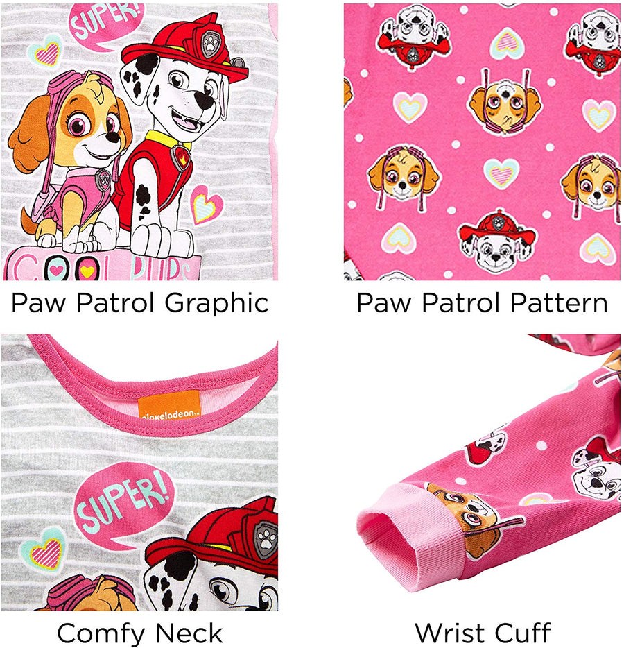 Nickelodeon Paw Patrol Girls' 4-Piece Cotton Pajama Set - Pink