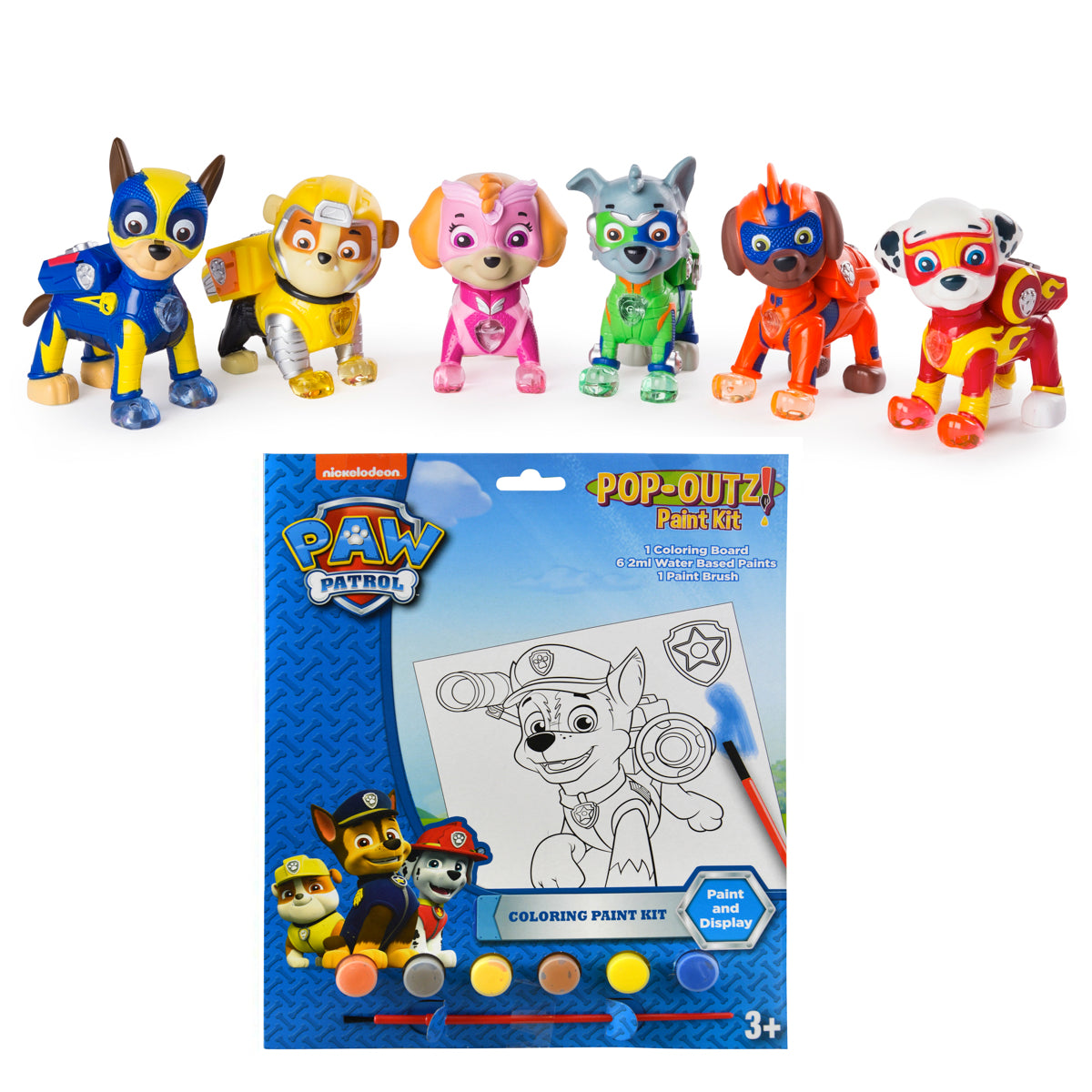 Paw Patrol Mighty Pups Set of 6 Figures Light Up Badges /& Paws NEW