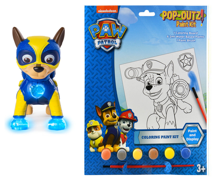 PAW Patrol Mighty Pups Special Edition Figures with Light-up Badge and Paws Plus Bonus Paint Set