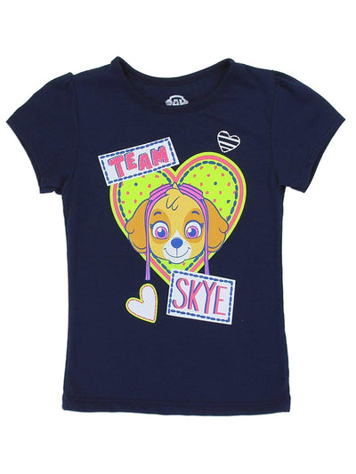 Paw Patrol Toddler Girls' Sublimation Tee Short Sleeve T-Shirt, White, Grey, Fuchsia, Navy, & Pink, Sizes 2T-5T