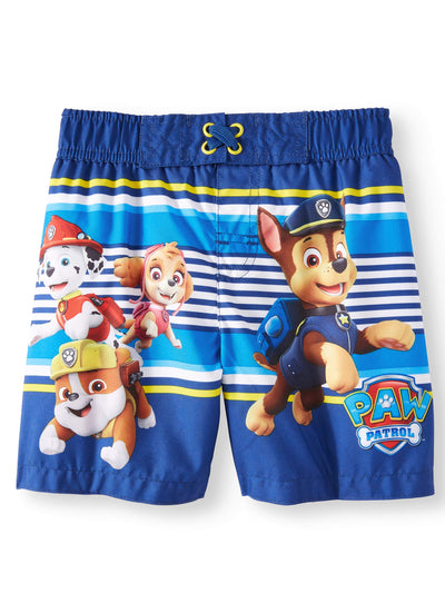 PAW Patrol Toddler Boys' Marshall Chase Rubble Swim Trunks - Navy Blue/Yellow