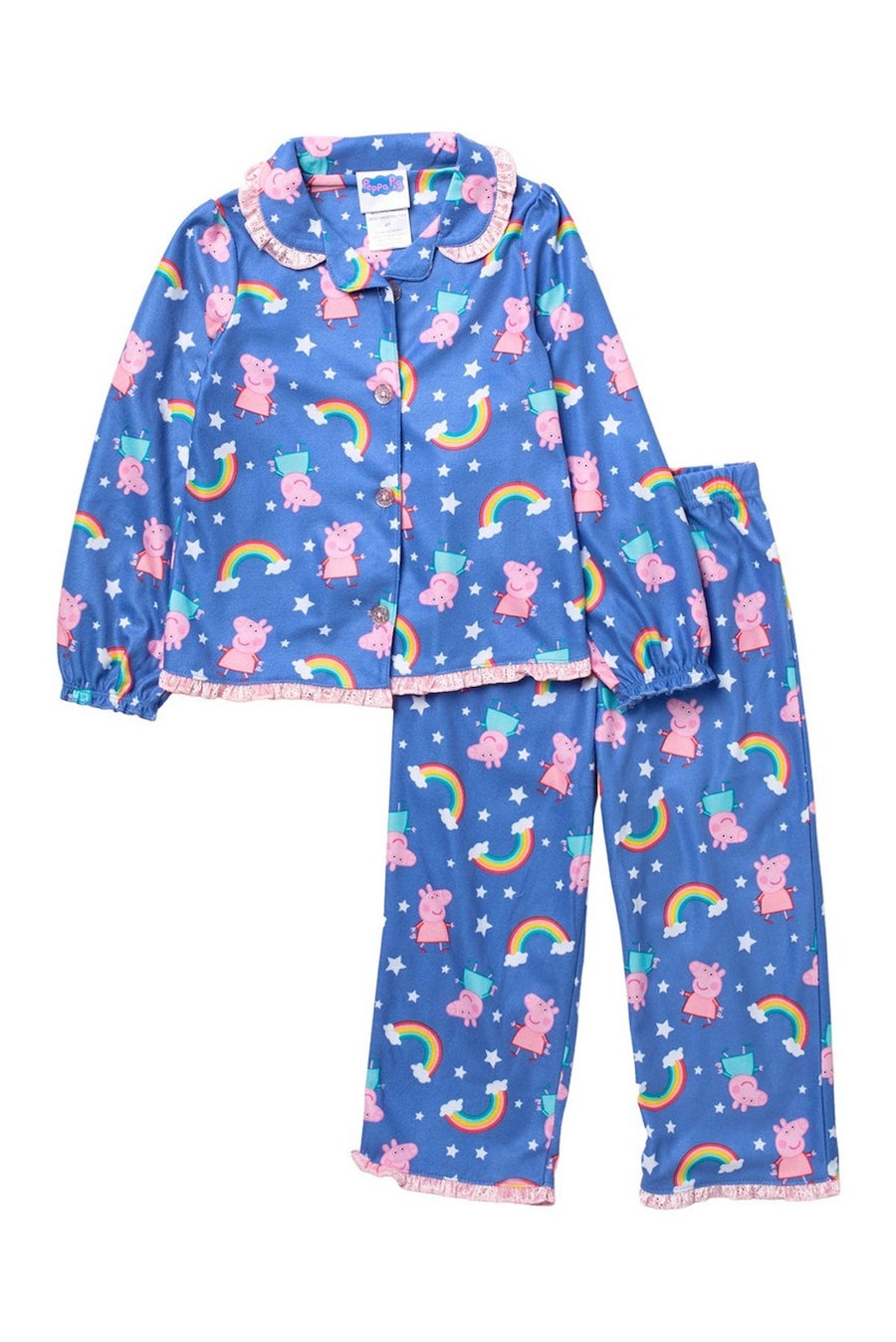 Peppa Pig Toddler Girls Pajama Set Long Sleeve 2PC Peppa PJs Outfit 2T-4T Purple