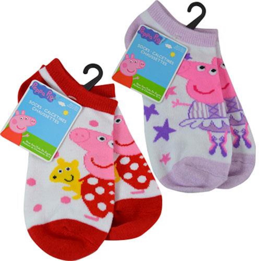 Peppa Pig Girls Ankle No-Show Socks Kids 2-Pack - Sock Size 6-8 1/2 - Shoe Size 10-4 - Ages 4-7 Years - Red & Purple
